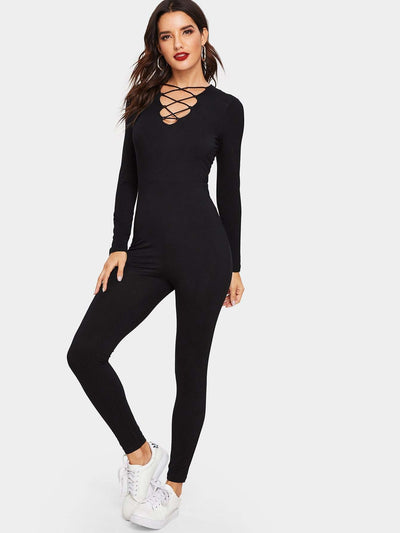 Crisscross V Neck Fitted Jumpsuit - Womens Jumpsuits