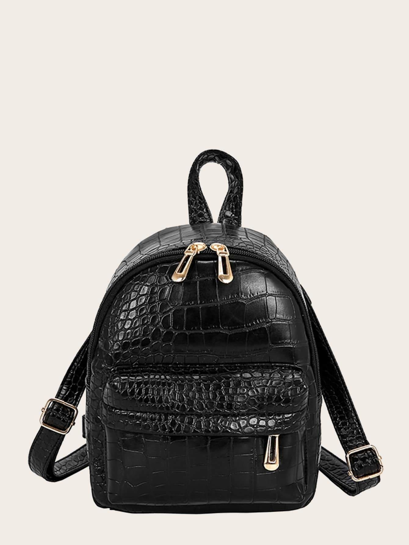 Croc Embossed Pocket Front Backpack