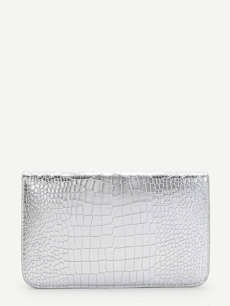 Croc Pattern Twist Lock Clutch