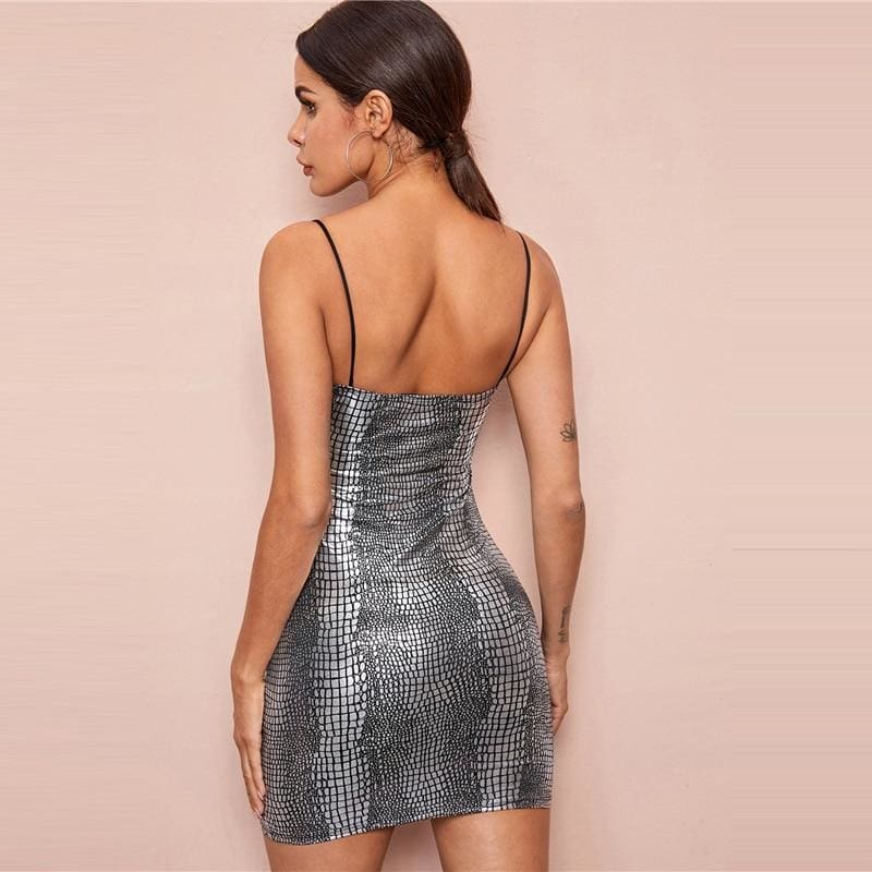 Crocodile Embossed Bodycon Cami Party Mini Dress - Gray / M - Dresses