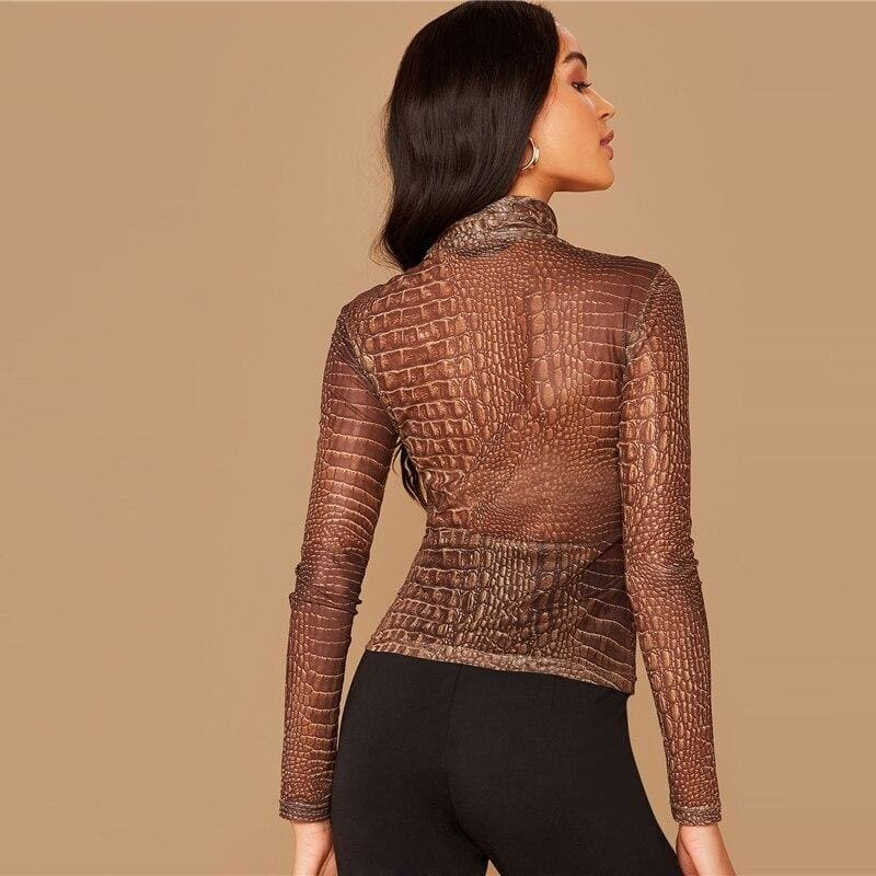 Crocodile Print Cowl Neck Semi Sheer Mesh Top