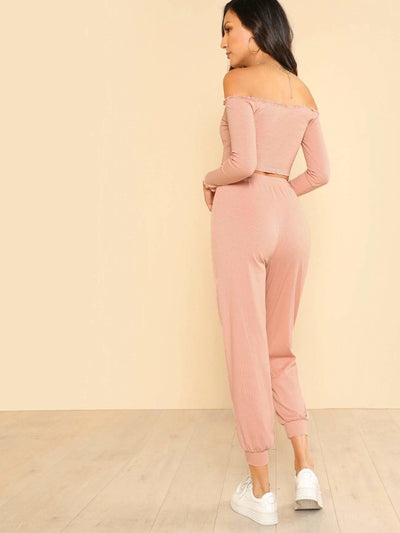 Crop Bardot Top & Pants Set - Sportsuit