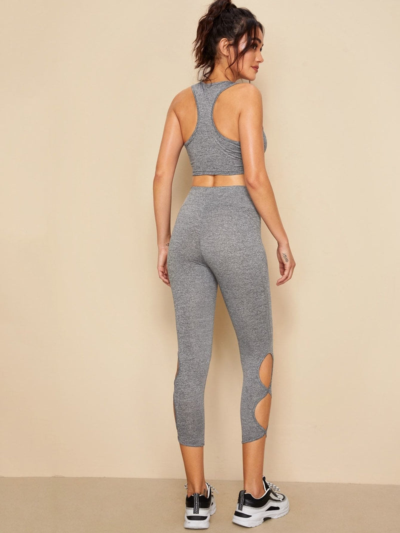 Crop Tank Top and Wide Band Waist Cutout Leggings Set - S - Sportsuit