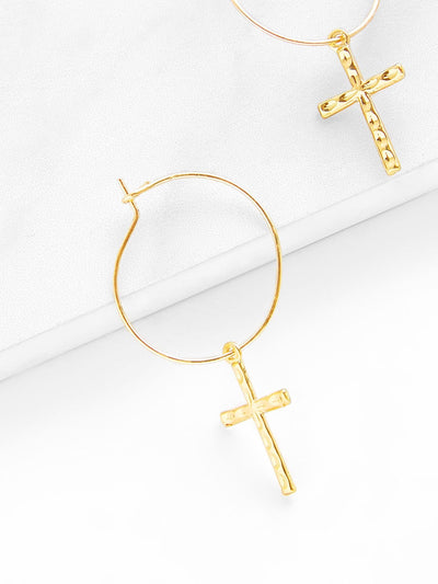 Cross Design Drop Earrings - Earrings