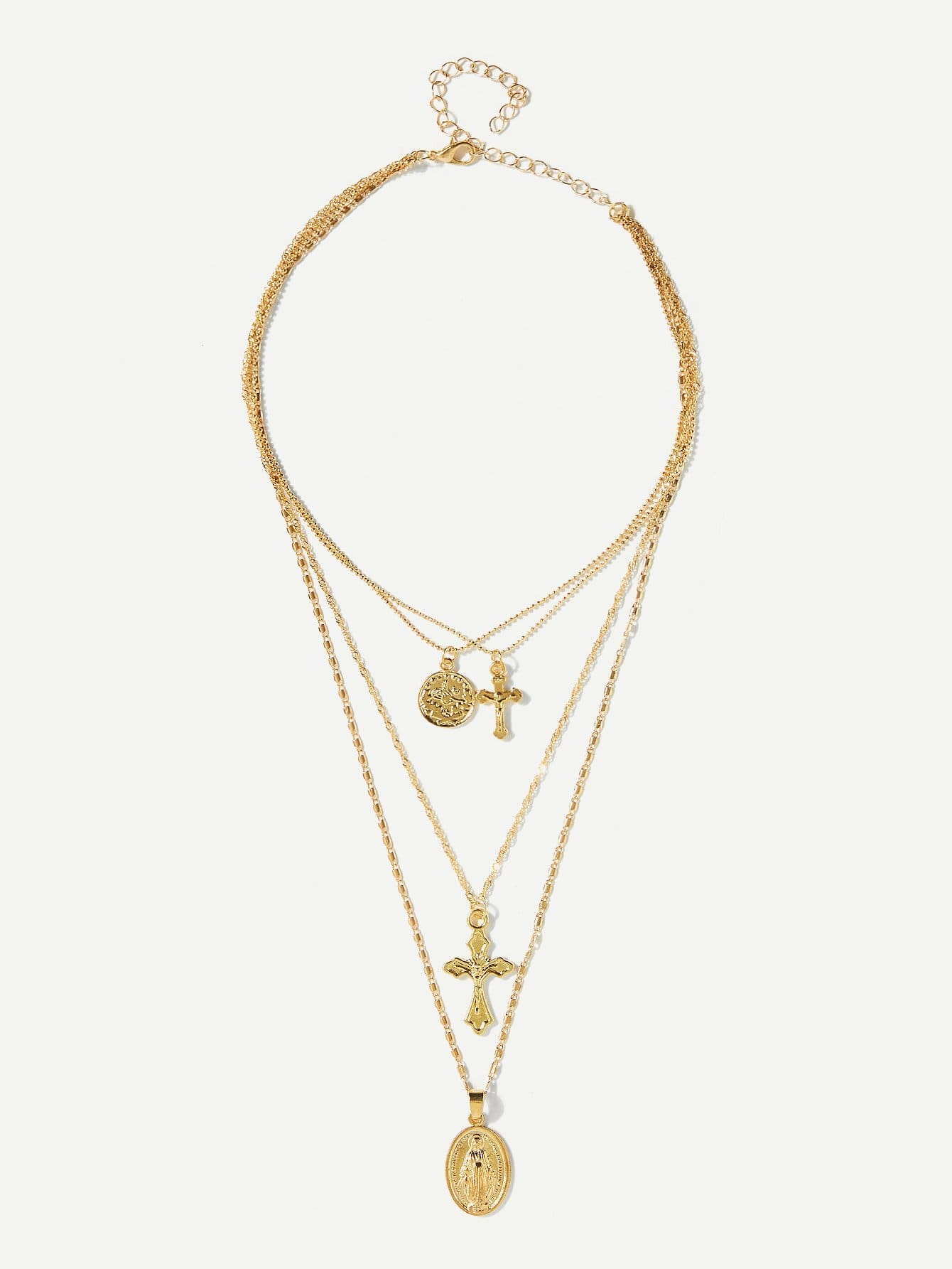 Cross Design Layered Pendant Necklace