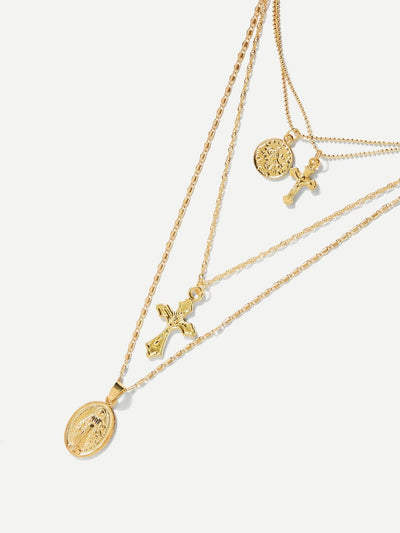 Cross Design Layered Pendant Necklace - Necklaces