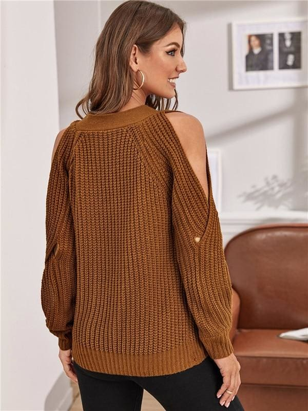 Cross Wrap Detail Split Raglan Sleeve Sweater - Brown / L - Hoodies & Sweatshirts