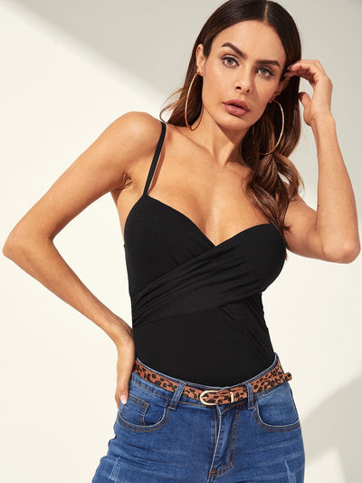 Cross Wrap Fitted Cami Top - Shirts