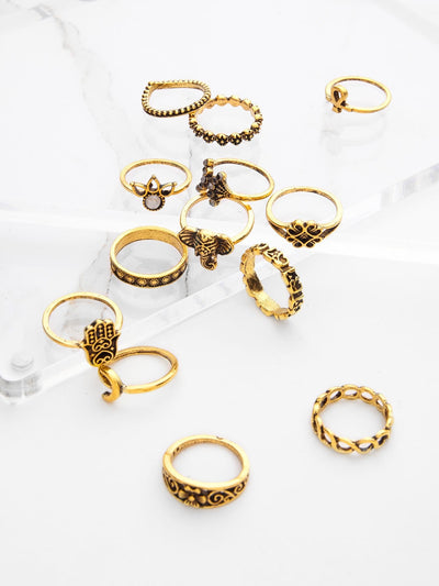 Crown And Flower Design Ring Set 13Pcs - Rings