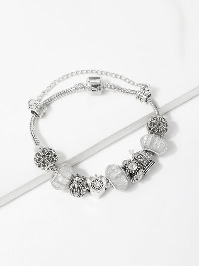 Crown Detail Bracelet With Rhinestone - Bracelets