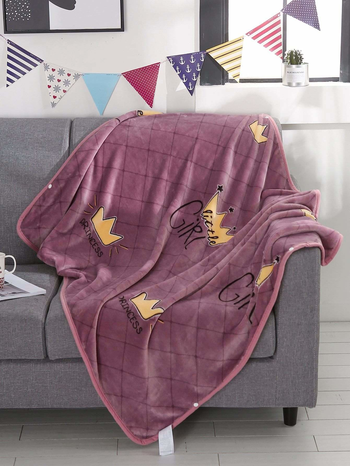 Crown Print Velvet Blanket 1PC