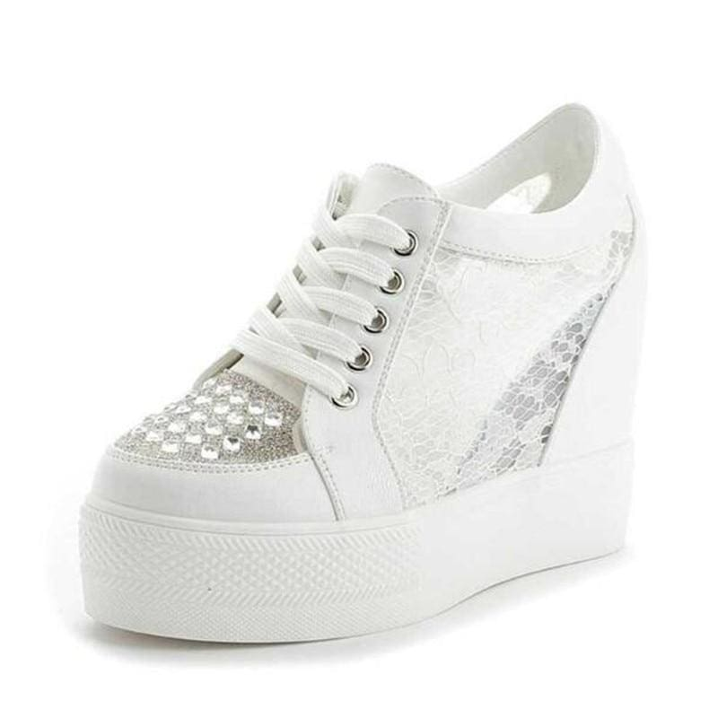 Crystal Lace Mesh Platform Sneakers - White / 4 - Womens Sneakers
