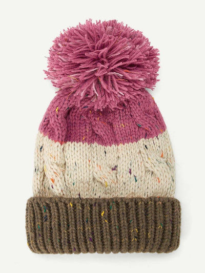 Cuffed Pom Pom Knit Hat - Hats & Gloves