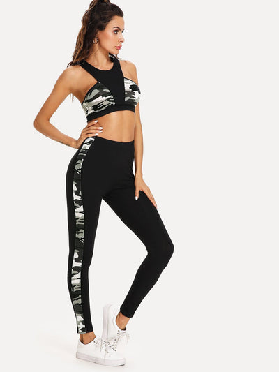 Cut And Sew Camo Print Sport Bra & Leggings Set - Sportsuit