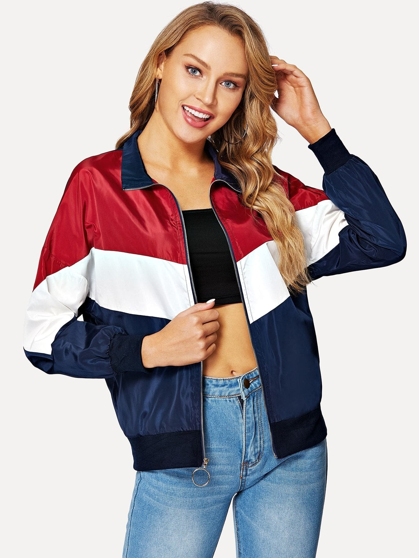 Cut-And-Sew Chevron Windbreaker Jacket - Gym Tops