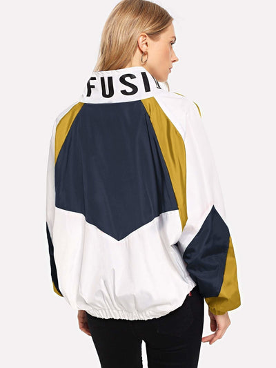 Cut And Sew Letter Print Windbreaker Jacket - Gym Tops