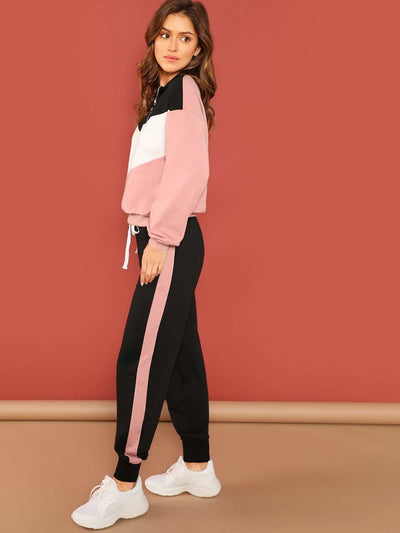 Cut And Sew Pullover & Pants Set - Sportsuit