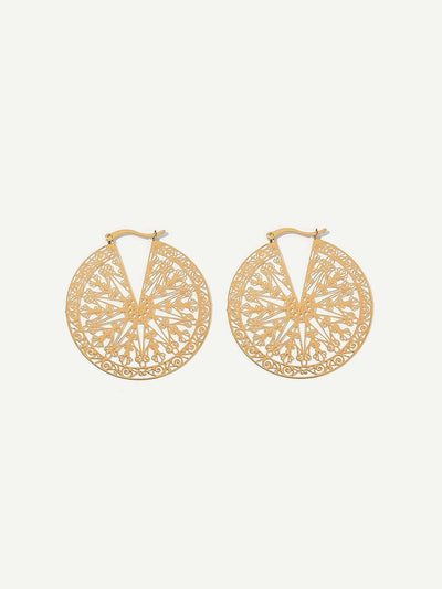 Cut Hollow Round Festival Drop Earrings - Earrings