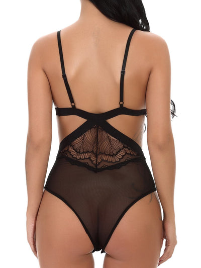 Cut-Out Contrast Lace Teddy Bodysuit - Lingerie