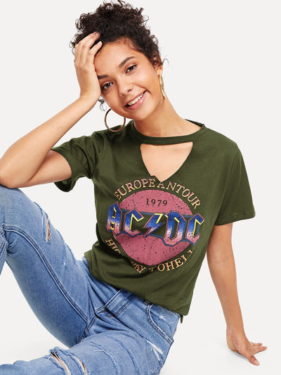 Cut Out Neck Letter Print Tee - Shirts