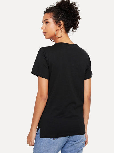 Cut Out Neck Printed Tee - Shirts