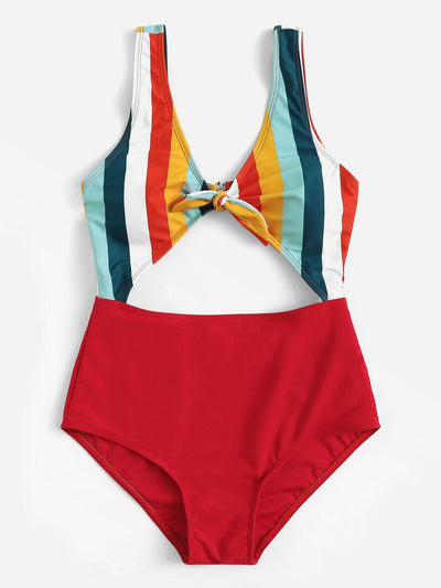 Cut-Out Random Striped Swimsuit - One Piece Swimwear