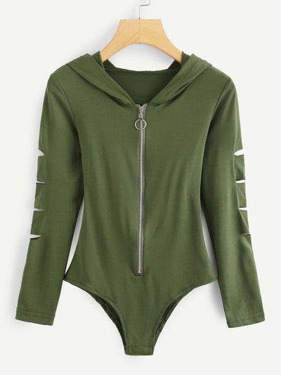 Cut Out Sleeve Zipper Front Hoodie Bodysuit - Bodysuits
