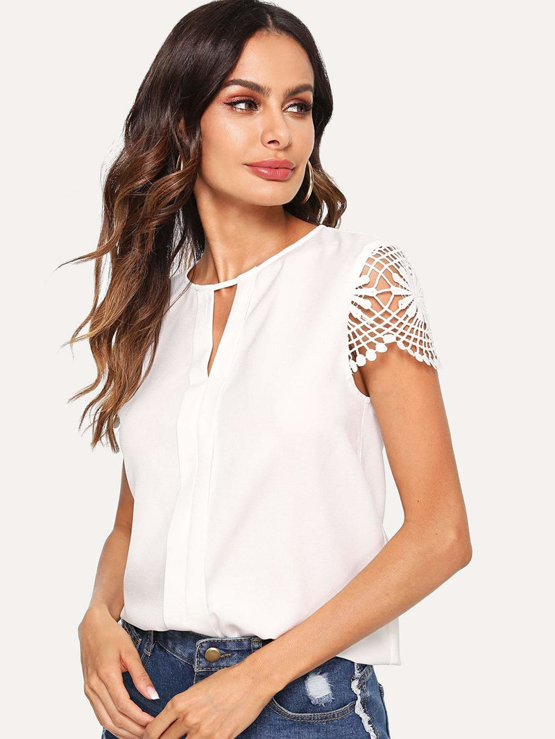 Cutout Lace Contrast Plain Top