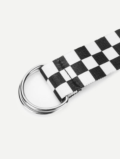 D-Ring Buckle Checked Belt - Belts
