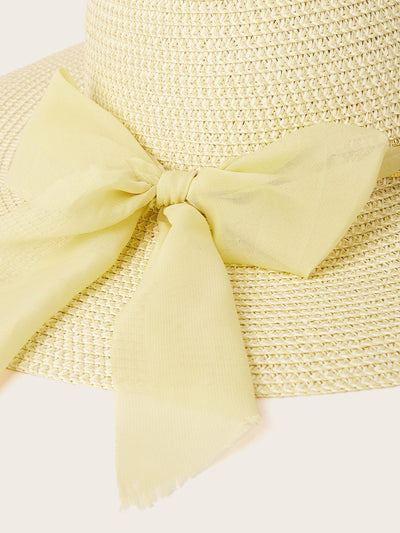 Chain Detail Exaggerated Bow Decor Floppy Hat