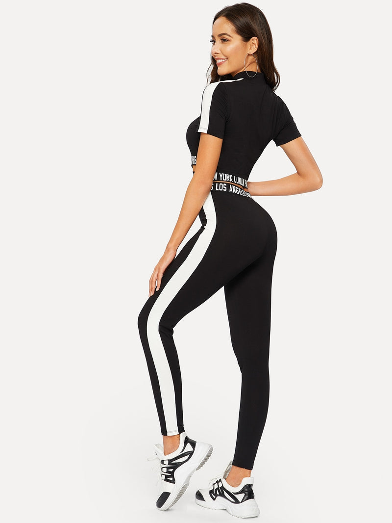 Contrast Sideseam Letter Crop Tee & Leggings Set