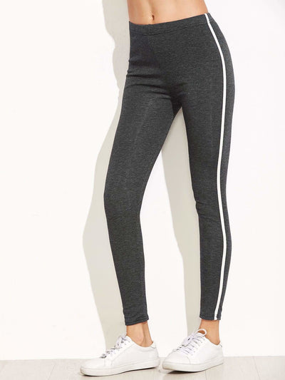 Dark Grey Striped Side Leggings - Fittness Leggings