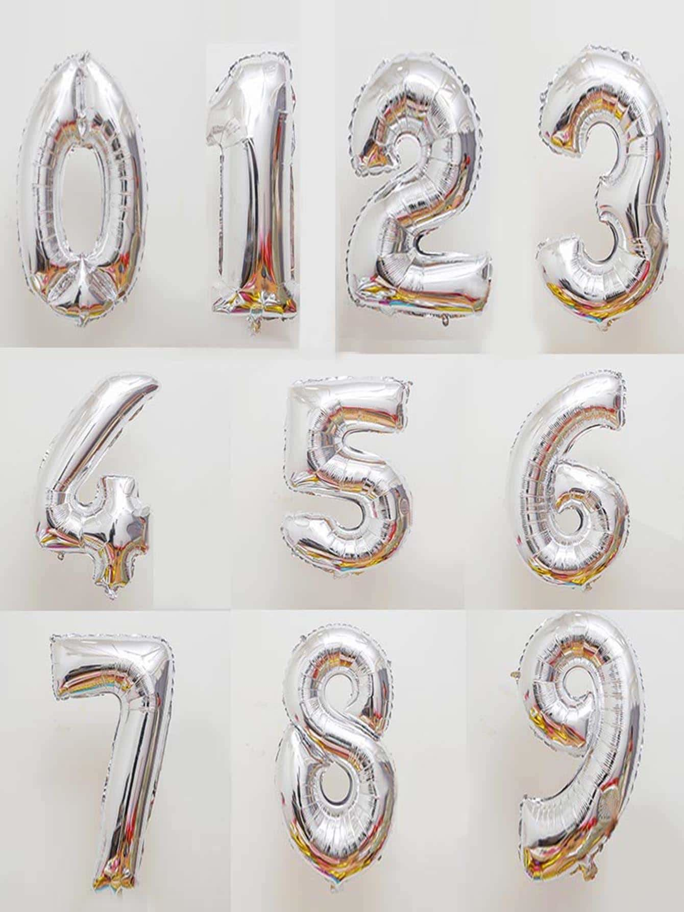 Decorative Number Balloon 1pc Silver - Holiday Decors