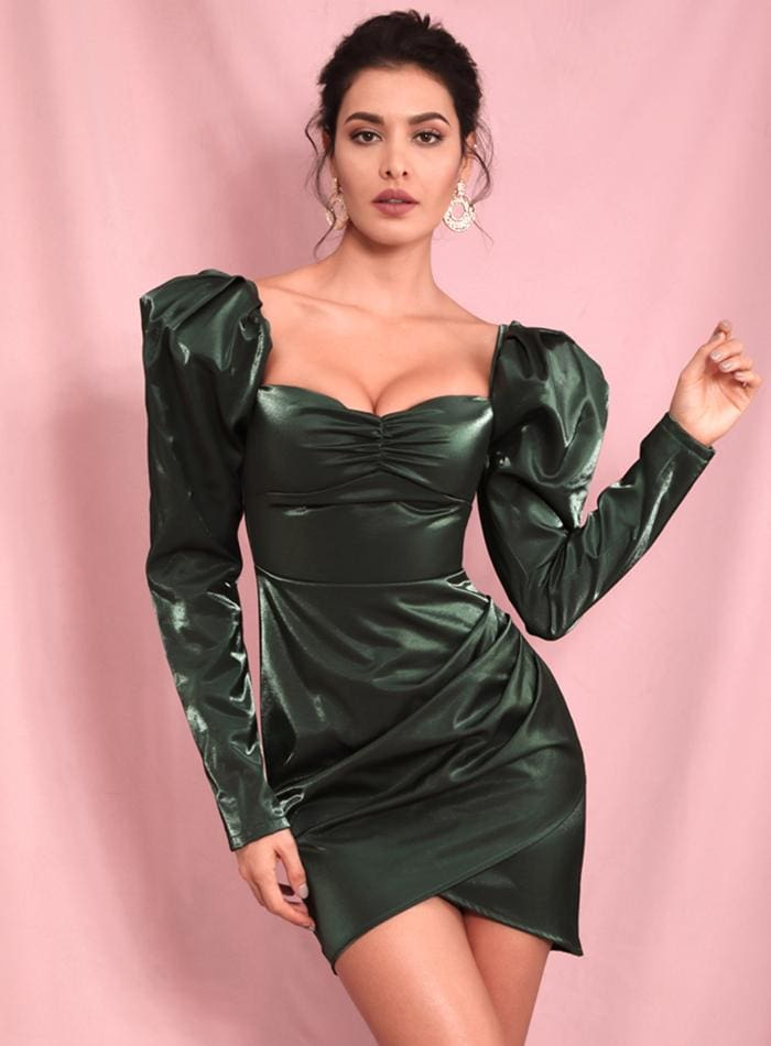 Deep Green Square Collar Bubble Reflective Party Mini Dress - DEEP GRREN / S - Dresses