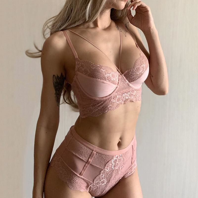 Deep V Lace High Waist Embroidery Lingerie Set