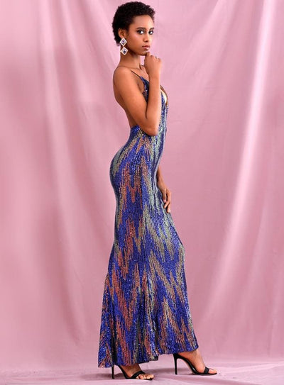 Deep V-Neck Colorful Sequins Open Back Prom Maxi Dress - Dresses