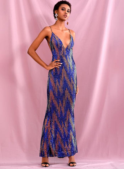Deep V-Neck Colorful Sequins Open Back Prom Maxi Dress - L - Dresses
