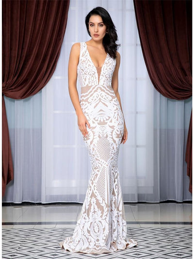 Deep V-Neck Geometric Sequins Mesh Lining Prom Maxi Dress - WHITE / S - Dresses