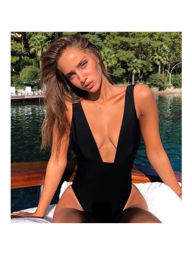 Deep V-Neck High Cut One Piece Swimsuit