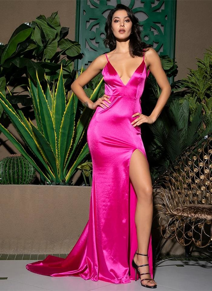 Deep V-Neck Hot Pink Cut Out Sling Open Back Party Maxi Dress