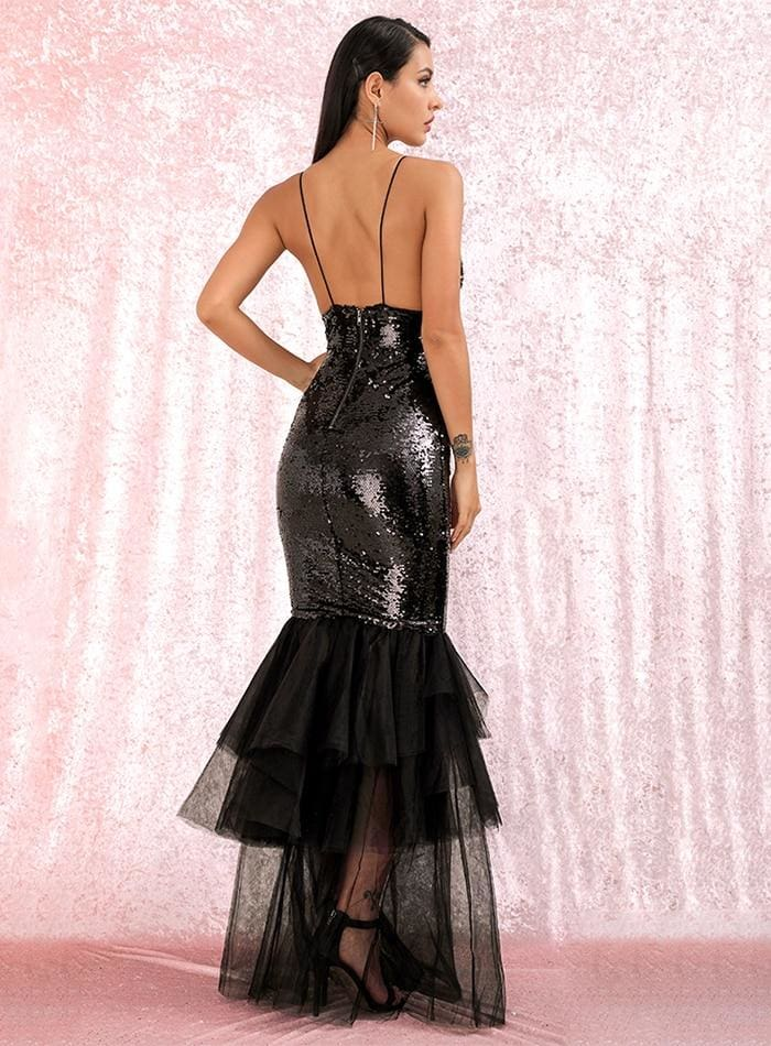Deep V-Neck Sequins Mesh Stitching Black Prom Maxi Dress - BLACK / XS - Dresses
