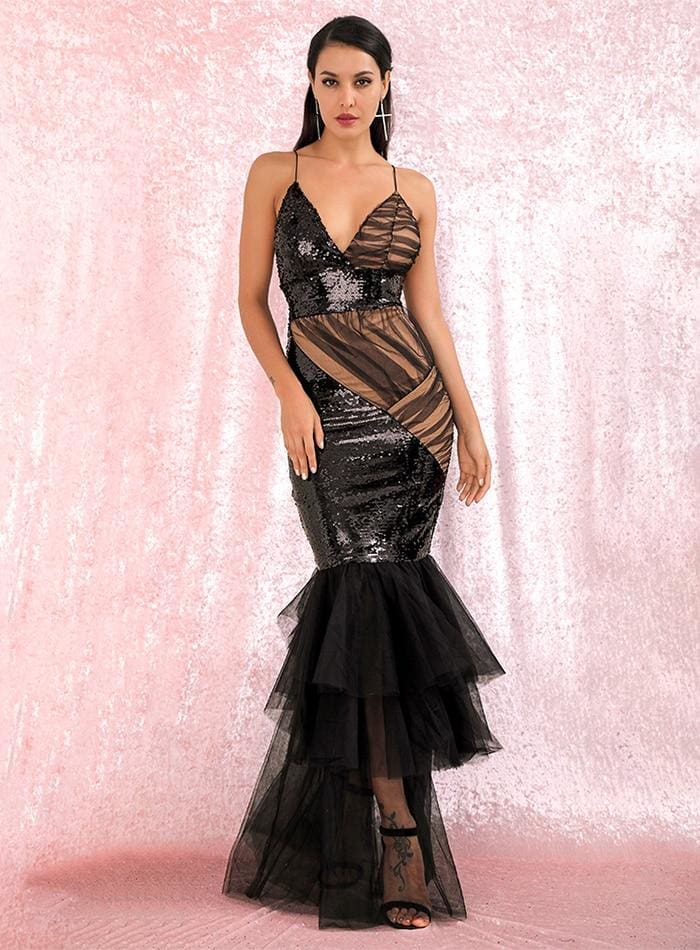 Deep V-Neck Sequins Mesh Stitching Black Prom Maxi Dress