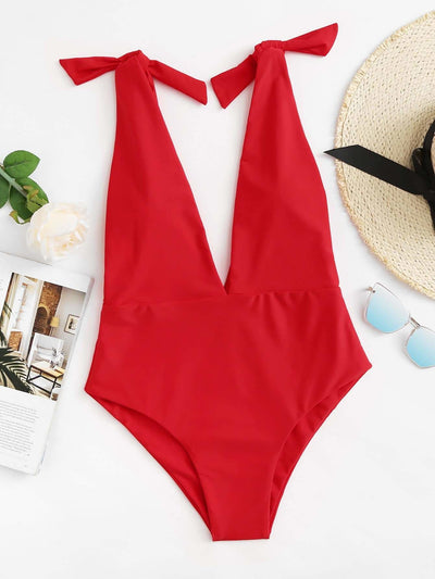 Deep V Plunge Knot Swimsuit - One Piece Swimwear