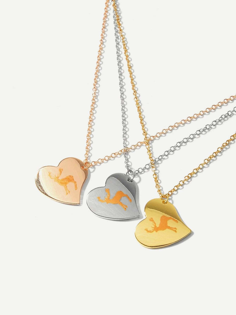 Deer Detail Heart Pendant Necklace Set 3pcs
