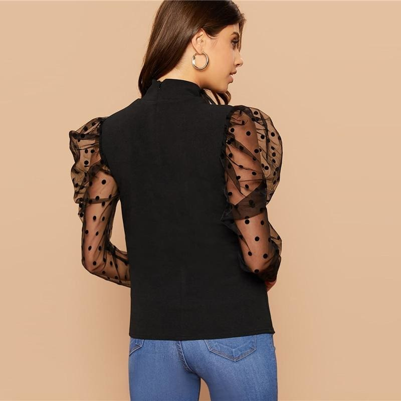 Dobby Mesh Gigot Sleeve Stand Neck Slim Top