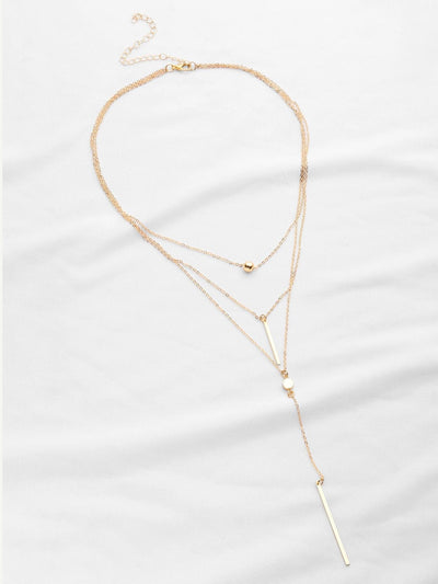 Double Bar Pendant Layered Necklace - Necklaces