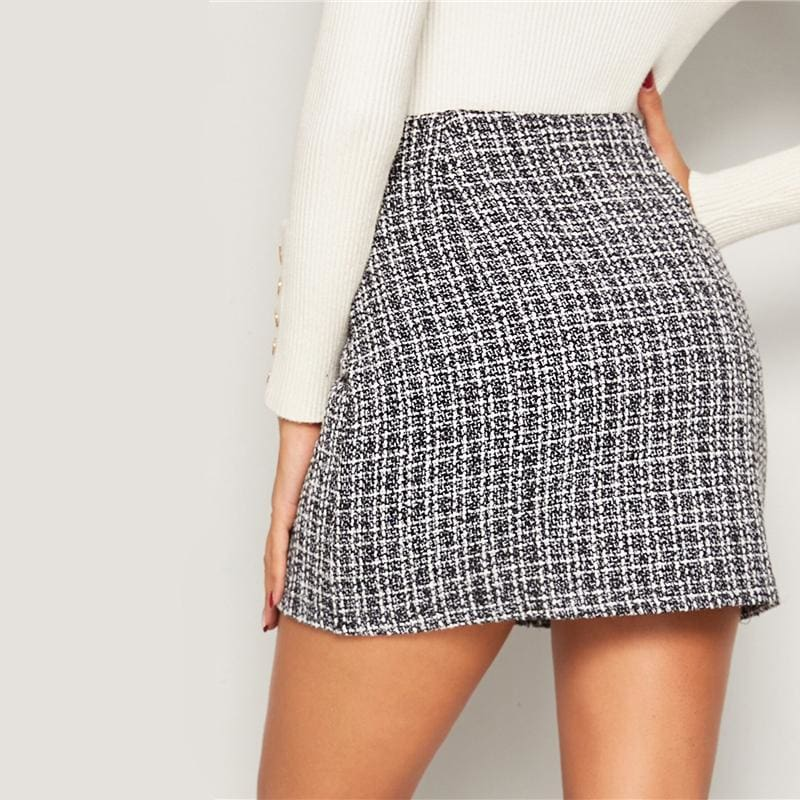 Double Breasted Tweed High Waist Office Mini Skirt - Skirts