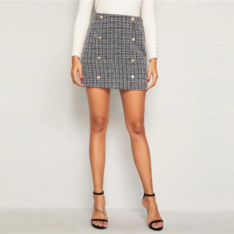 Double Breasted Tweed High Waist Office Mini Skirt