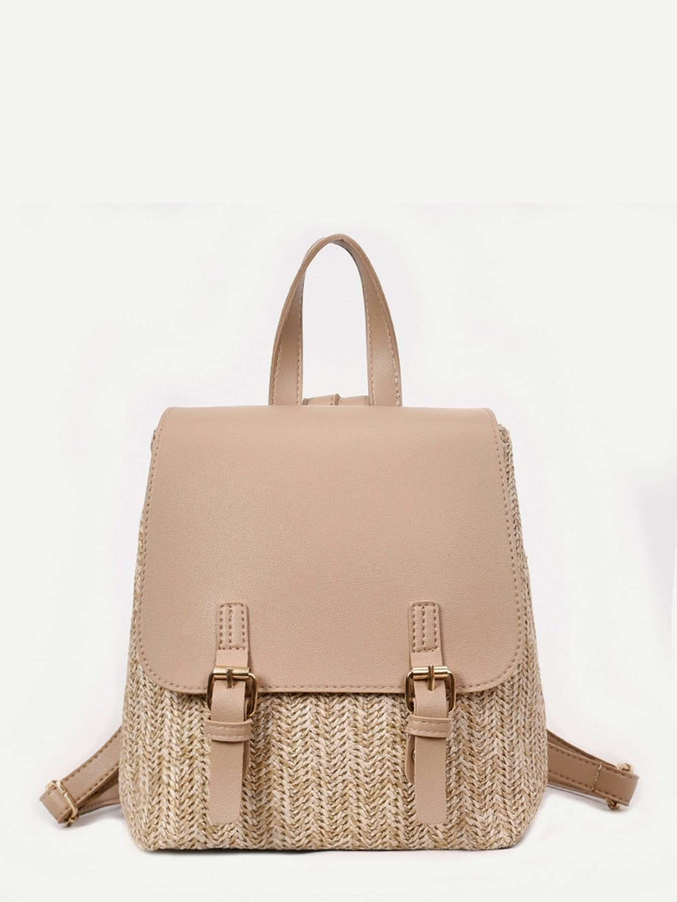 Double Buckle Straw Backpack - Womens Bag