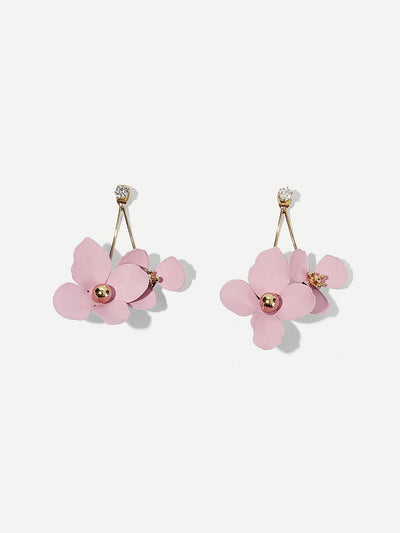Double Flower Drop Earrings 1pair - Earrings